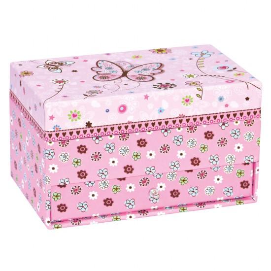 Caseta bijuterii roz cu oglinda Fluturasi - Bino