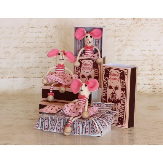 Decoratiune handmade cu lavanda - soricel in cutie chibrituri