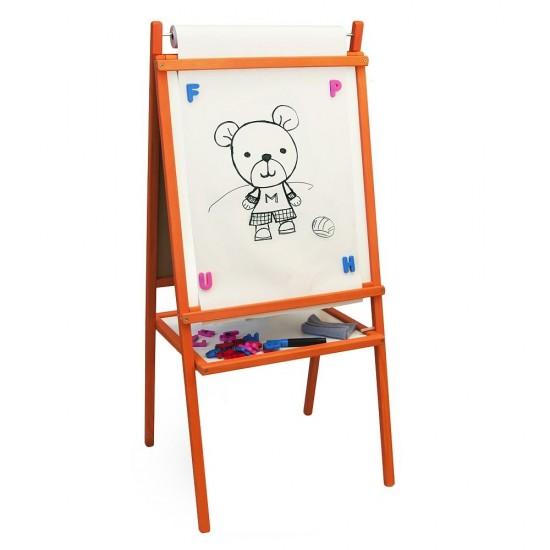 Tabla medie de scris 2 in 1, cu accesorii, pentru copii - portocalie