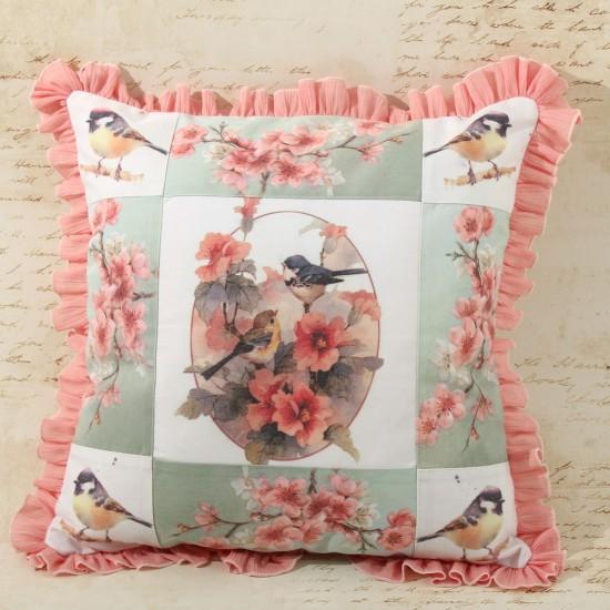 Perna decorativa cu pasarele si flori de cires