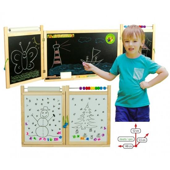 Prima mea tabla scolara 2 in 1, cu accesorii, pentru copii