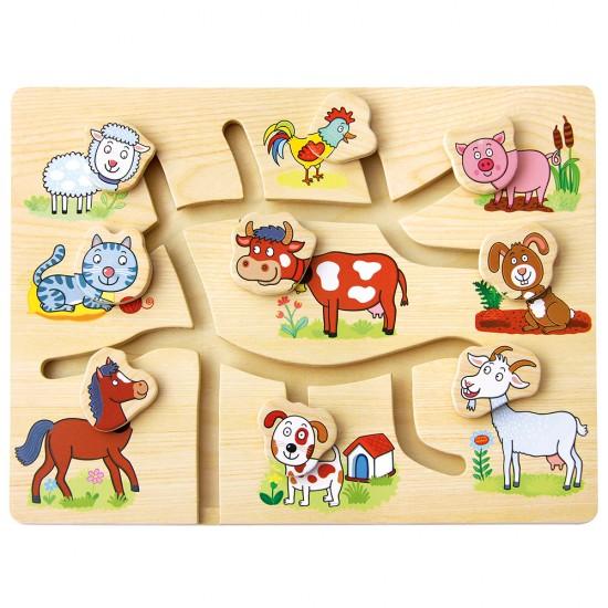 Puzzle mobil din lemn - Ferma - Bino