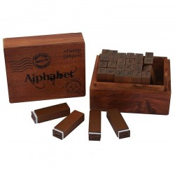 Stampile lemn alfabet in cutie - 28 piese