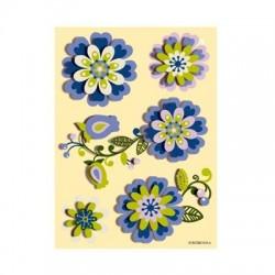 Set 5 stickere 3D - Flori albastre