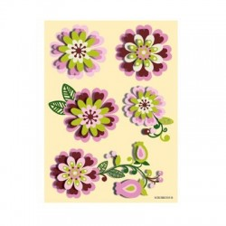 Set 5 stickere 3D - Flori roz