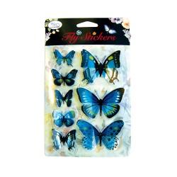 Set 8 stickere 3D - Fluturi albastri