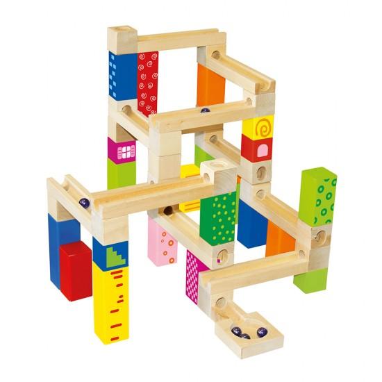Set de constructii cu 66 piese din lemn - Bino