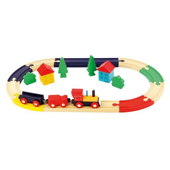 Set de tren oval din lemn - Bino