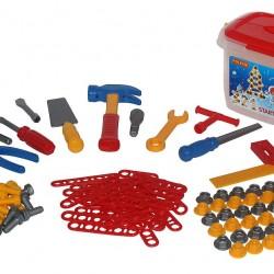 Set unelte si accesorii constructie - 132 piese - Polesie Wader