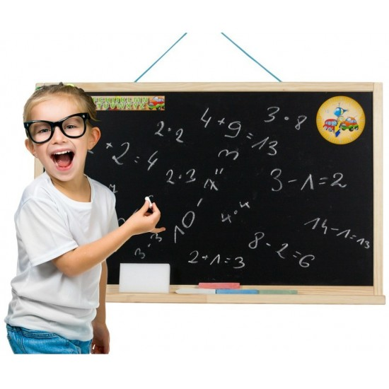 Tabla de perete, cu suport si accesorii, pentru copii