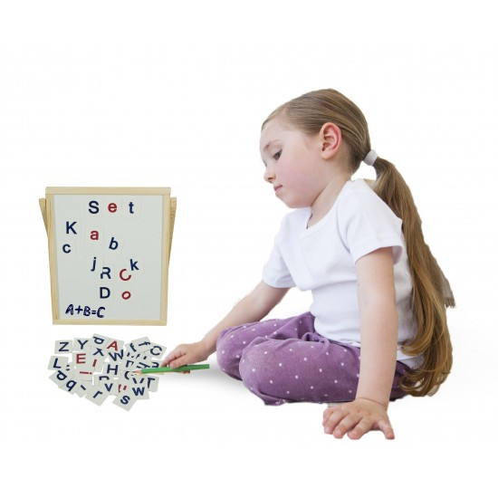 Tabla de scris din lemn cu alfabet magnetic, litere mari si mici, pentru copii