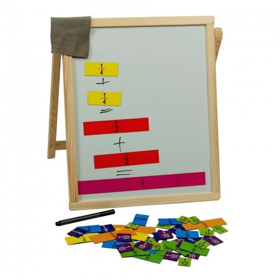 Tabla de scris din lemn cu fractii matematice, pentru copii