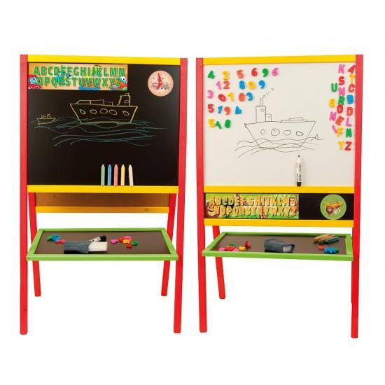 Tabla mare de scris 2 in 1, cu accesorii, pentru copii - multicolora