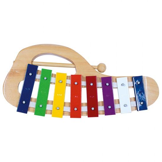Xilofon curbat din lemn si metal - 8 note - Bino