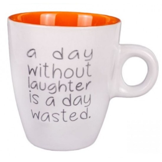 Cana mini de cafea, cu mesaj motivational - A day without laughter is a day wasted