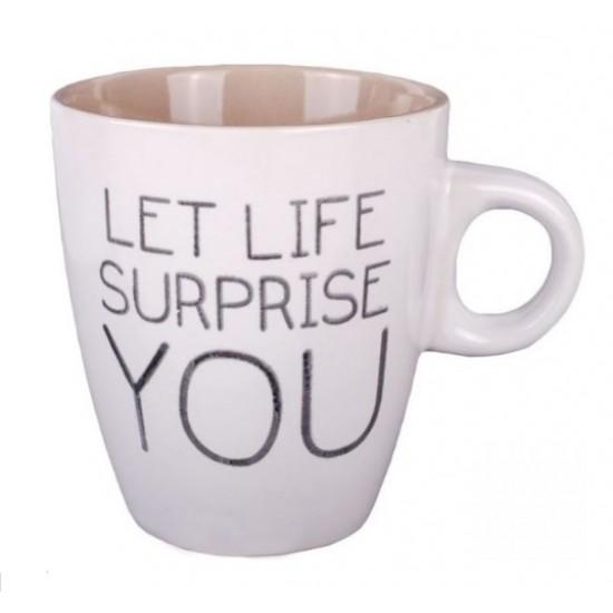 Cana mini de cafea, cu mesaj motivational - Let life surprise you