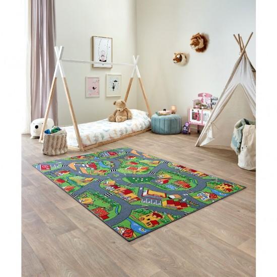 Covor pentru camera copilului 140 cm x 200 cm, oras cu strazi si case Village Street