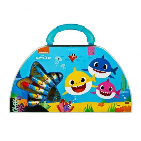 Gentuta mea creativa cu 51 de accesorii, pentru colorat, desenat si pictat Baby Shark