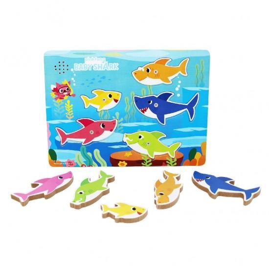 Puzzle din lemn cu sunete si personajele Baby Shark