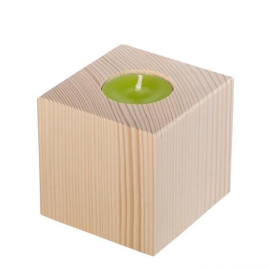 Suport din lemn pentru lumanare - lemn natur