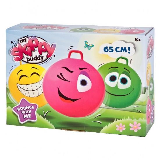 Minge gonflabila de sarit, pentru copii, model smiley face verde, 65 cm