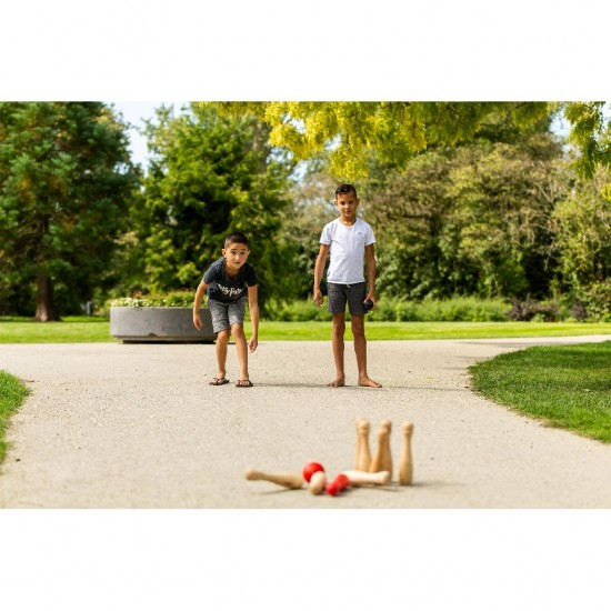 Set bowling din lemn pentru exterior, cu 9 popice si 2 bile - Outdoor Play
