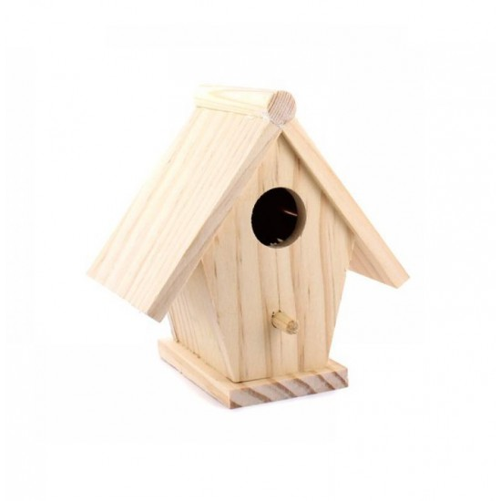Casuta mica pentru pasarele 11 cm x 7 cm x 11 cm - lemn natur