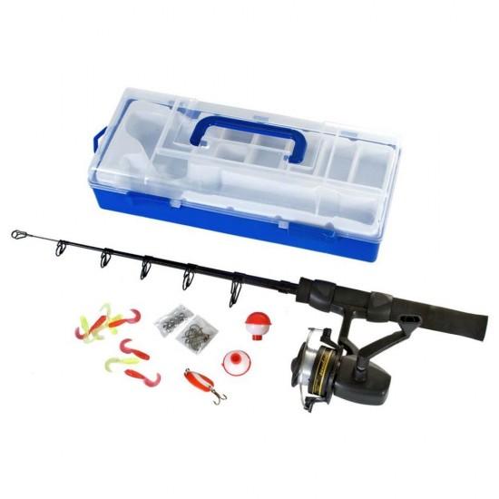 Set complet de pescuit in cutie depozitare, pentru incepatori - Game On Fishing