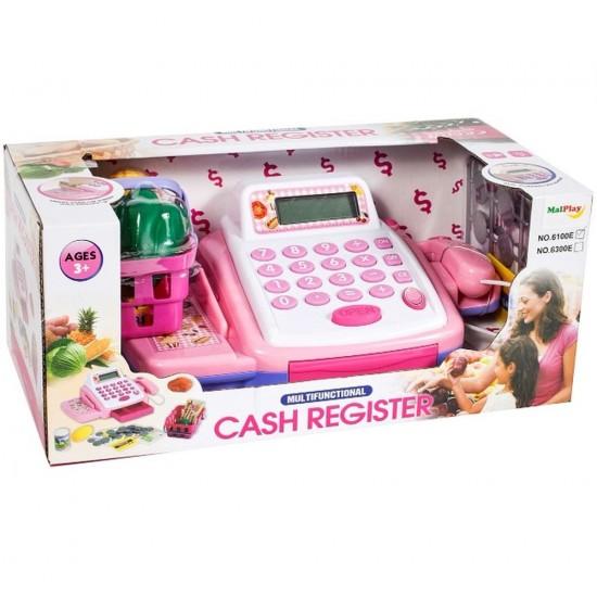 Casa de marcat cu scanner, calculator, bani si alimente - MalPlay