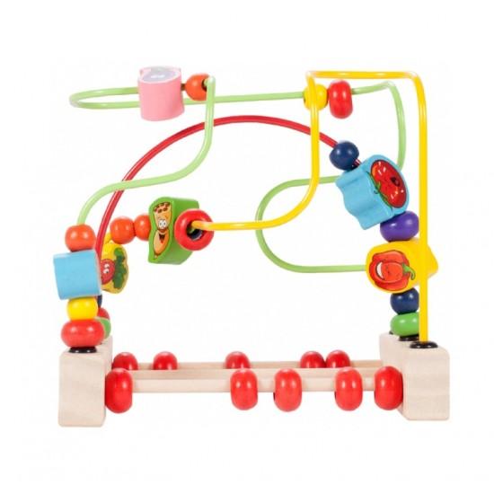 Jucarie din lemn Montessori - Labirint cu bile si numaratoare - MalPlay