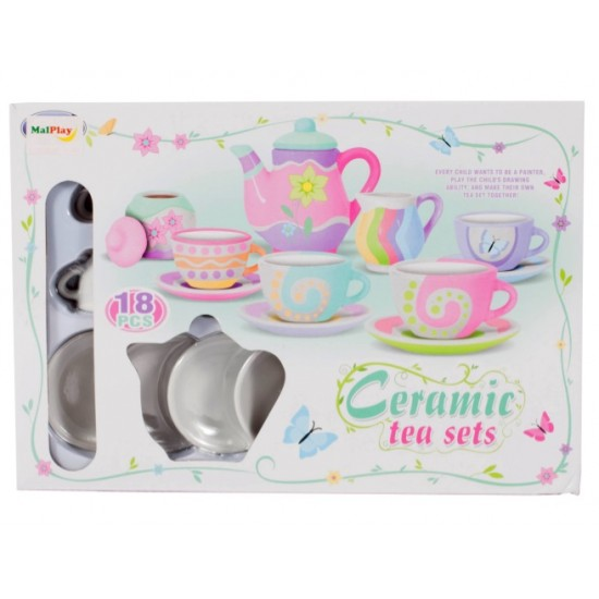 Set ceai din ceramica, pentru pictat - MalPlay