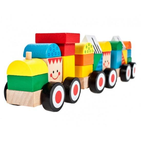 Trenulet din lemn cu zambete - MalPlay
