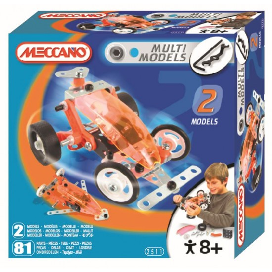 Set constructie 2 in 1 - Masina de curse, 81 piese - Meccano
