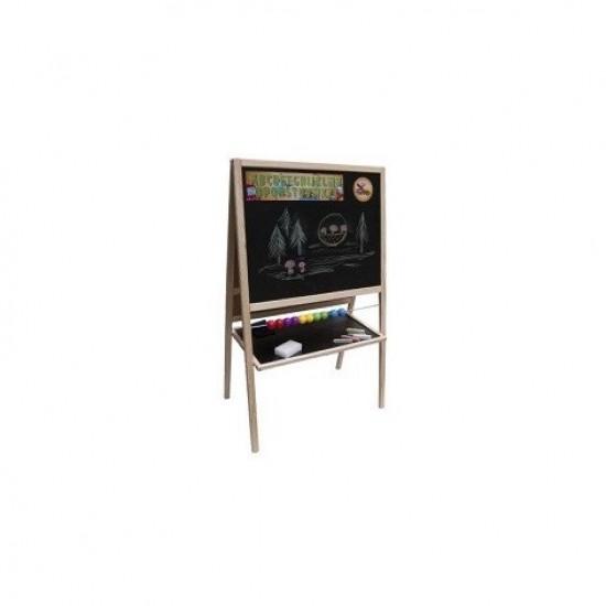 Tabla mare de scris, magnetica, cu numaratoare, ceas si accesorii - lemn natur