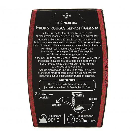 Ceai negru bio cu fructe rosii Rodie si Zmeura Pages - cutie 20 plicuri
