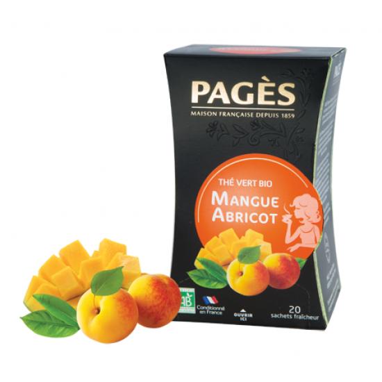 Ceai verde bio cu Mango si Caise - cutie 20 plicuri