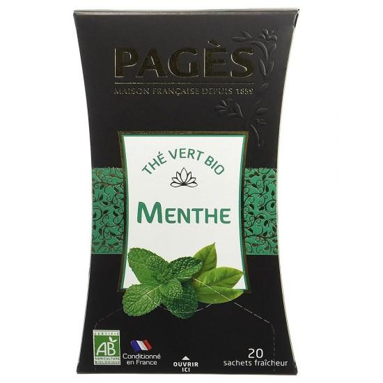 Ceai verde bio cu Mentă Pages - cutie 20 plicuri