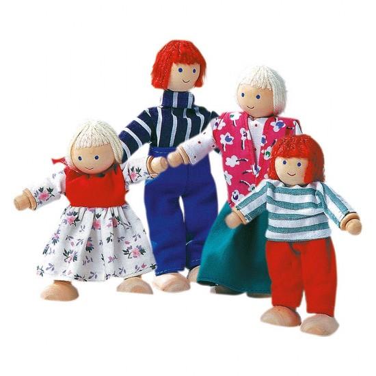 Familie papusi din lemn - 4 personaje - Bino