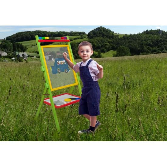 Tabla de scris multicolora 3 in 1, cu suport si accesorii, pentru copii