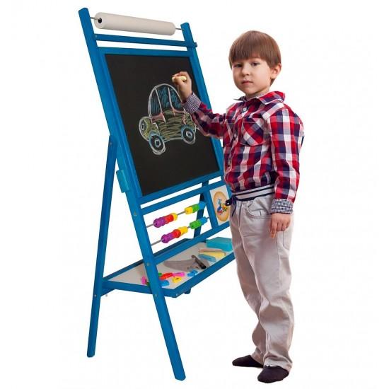Tabla de scris premium 2 in 1, fete rotative - albastra