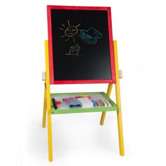 Tabla de scris 2 in 1, cu picioare, pentru copii - multicolora