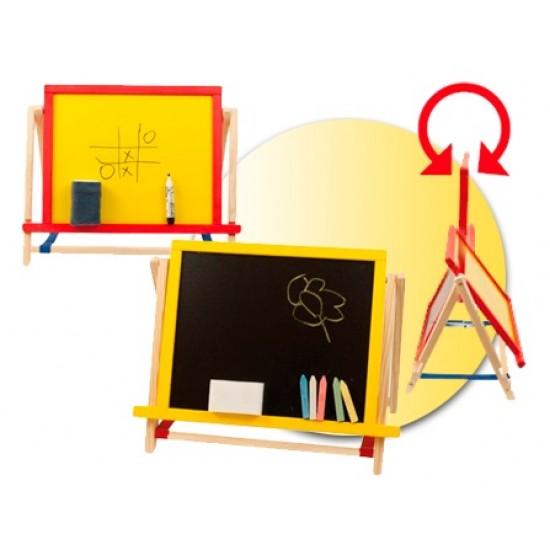 Tabla de scris mica 2 in 1, cu accesorii, pentru copii - colorata