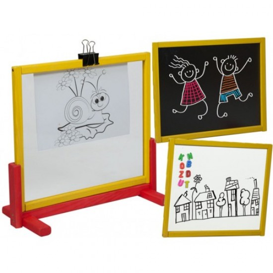 Tabla de scris 3 in 1, pentru creta, marker si pictura - multicolora