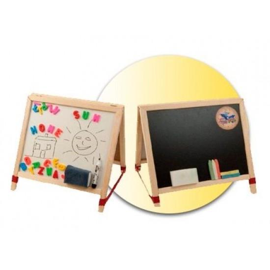Tabla de scris mica 2 in 1, cu accesorii - lemn natur, pentru copii