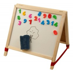 Tabla de scris mica 2 in 1, cu accesorii - lemn natur