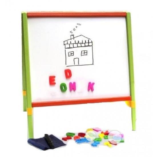 Tabla de scris completa 2 in 1, cu accesorii, pentru copii - multicolora