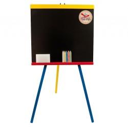 Tabla de scris din lemn, rame colorate, cu ceas si accesorii