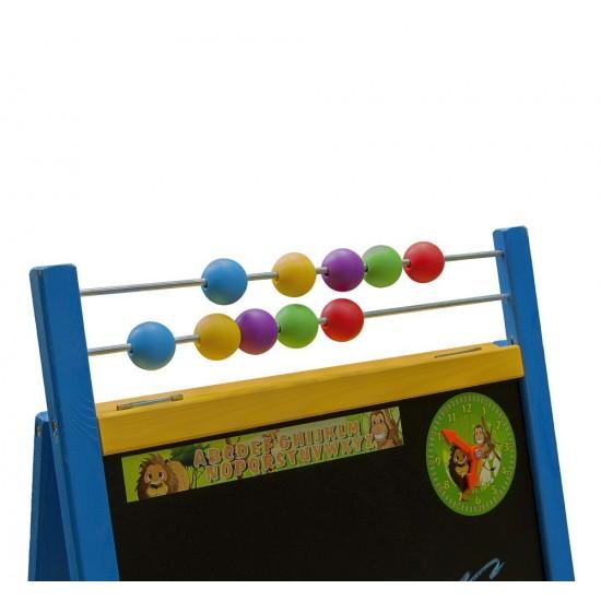 Tabla de scris mare 2 in 1, cu suport si accesorii, pentru copii - albastra