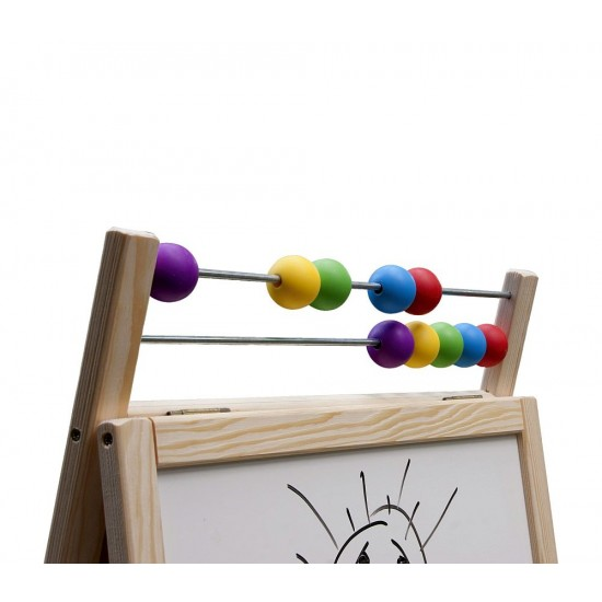 Tabla de scris mare 2 in 1, cu suport si accesorii, pentru copii - lemn natur