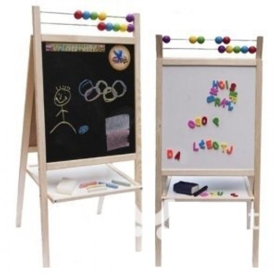 Tabla mare 2 in 1, de scris cu marker si creta, cu suport, picioare si accesorii, pentru copii - albastra - lemn natur